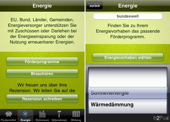 "Screenshots der Lite-Version der App ""Fördermittel"" (iPhone-Version)"